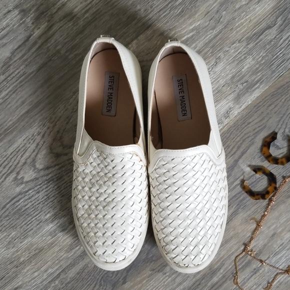 Steve Madden Slip On White Woven Shoes